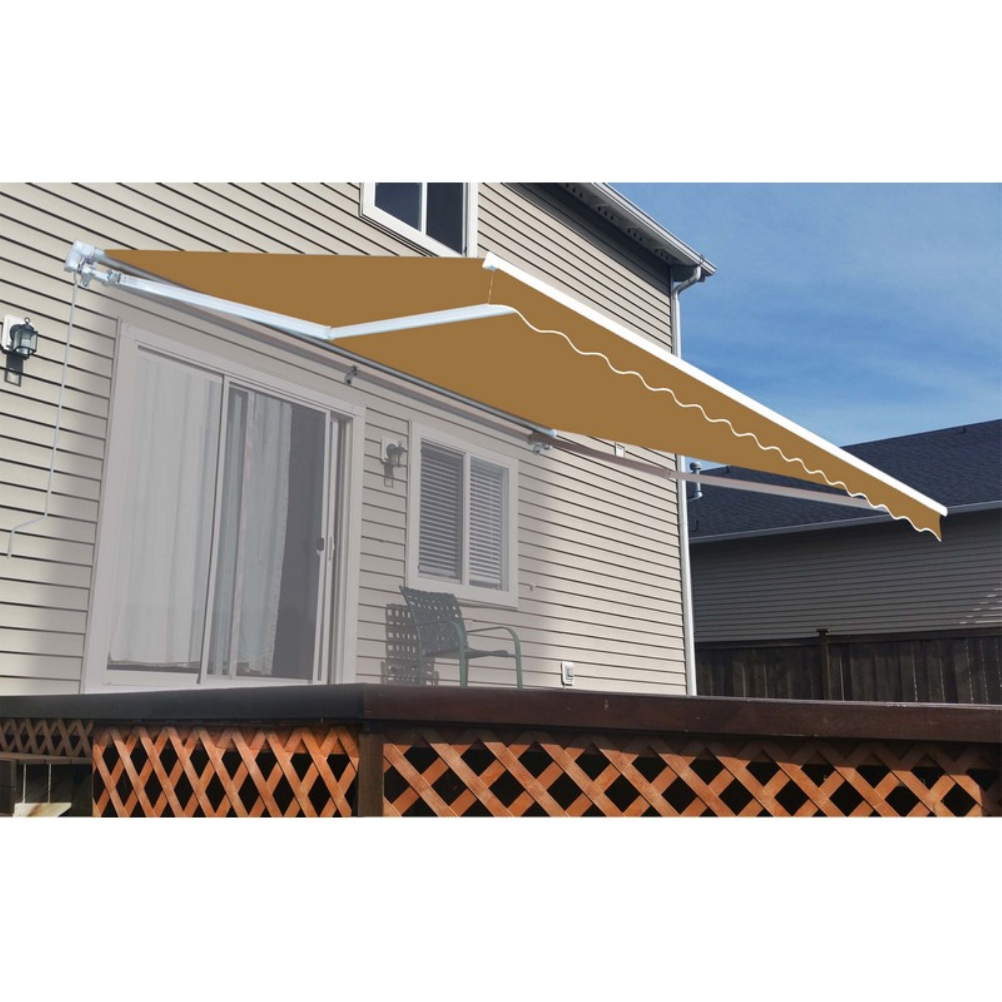 ALEKO Fabric Replacement For 10x8 Ft Retractable Awning Multistripe Yellow Color