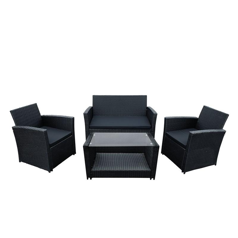 Details about ALEKO Lipari Rattan Wicker Furniture 4-Piece Indoor Outdoor  Set In Black