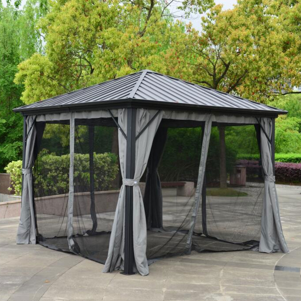 Aleko Aluminum And Steel Hardtop Gazebo With Mosquito Net And Curtain 10x10 Ft Ebay