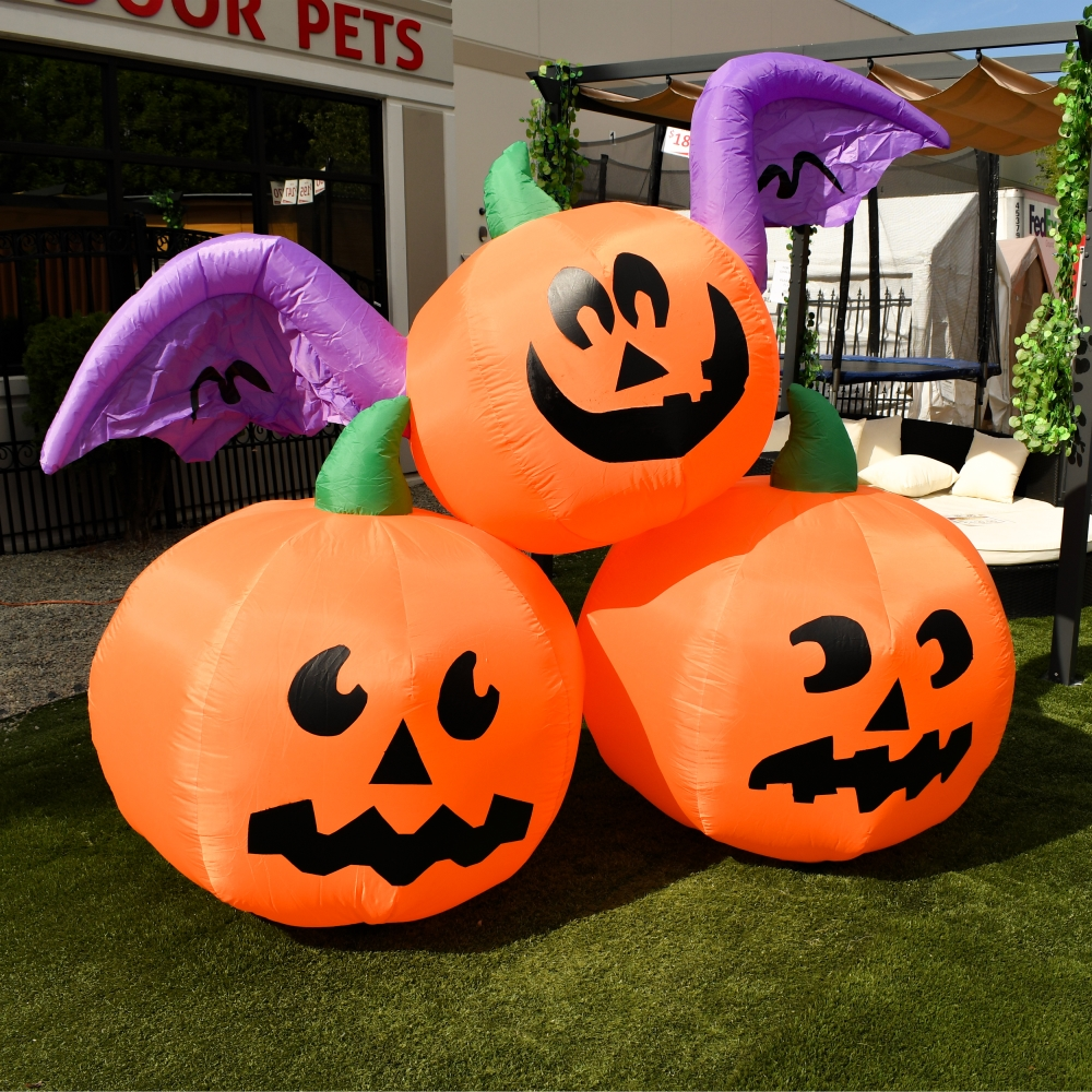 Details about ALEKO Blow up Outdoor Yard Decoration Halloween Inflatable 3 Pumpkins 6 ft