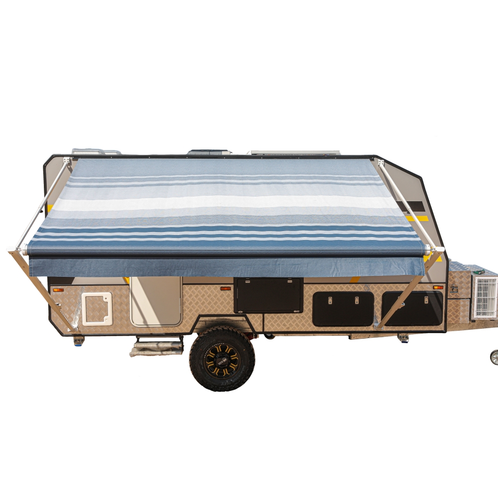 ALEKO Retractable RV Home Patio Canopy Awning Blue Stripes ...