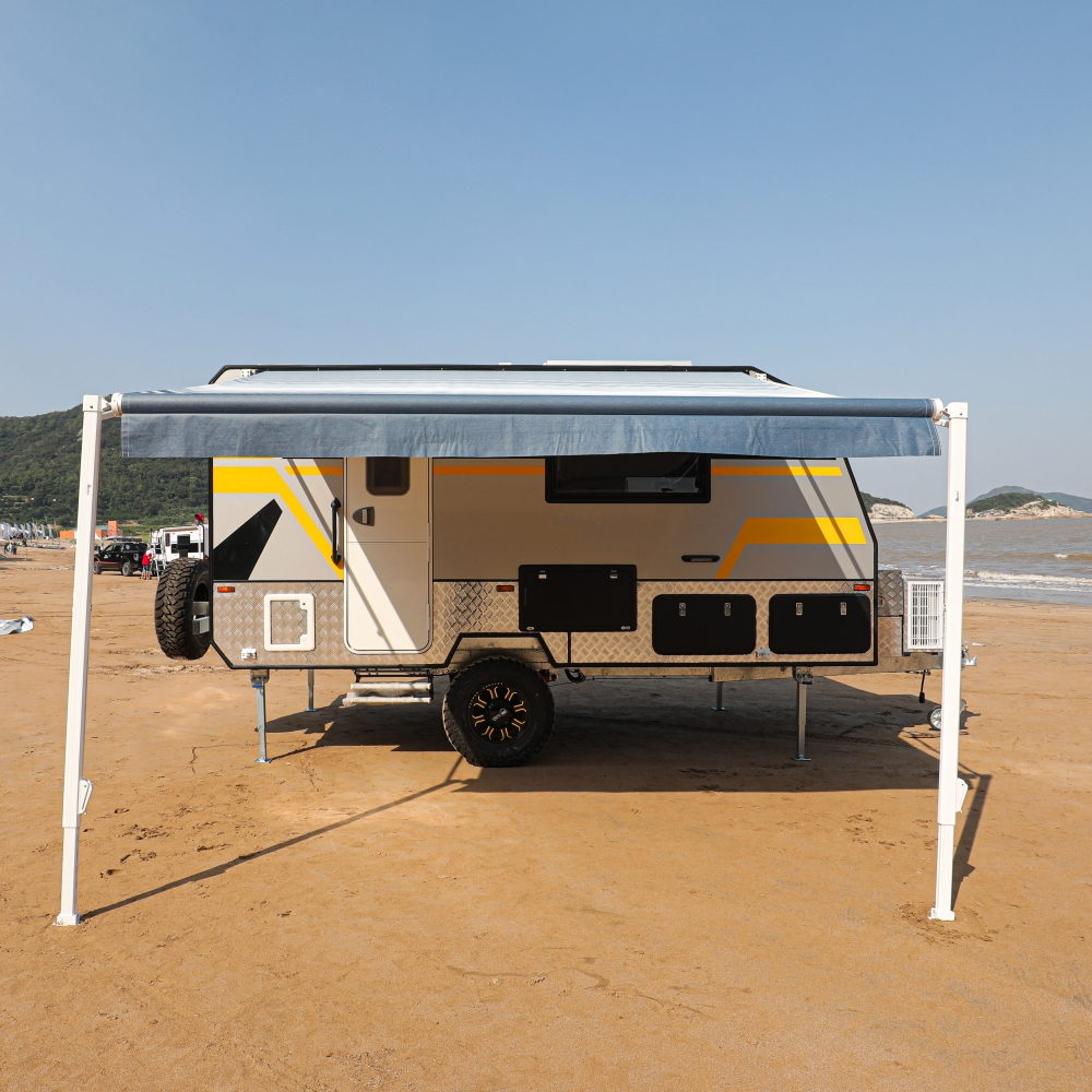 ALEKO Retractable RV or Home Patio Canopy Awning Blue ...