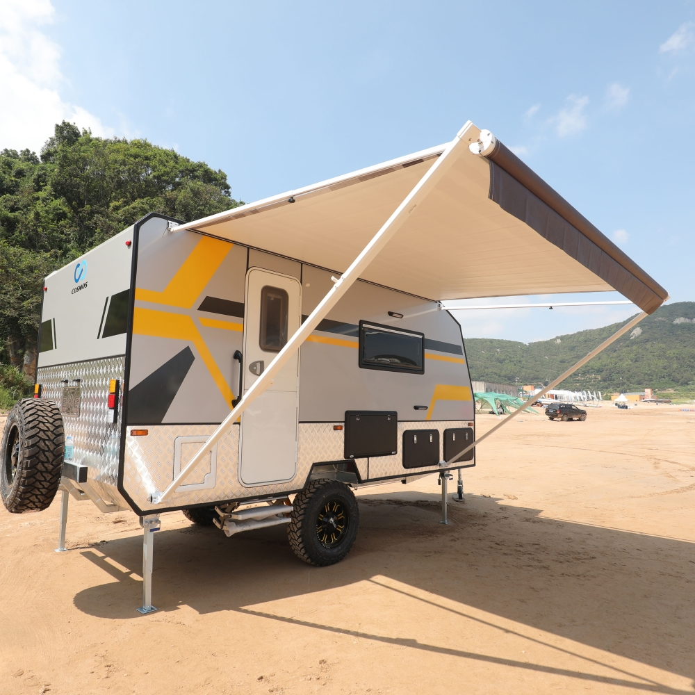 ALEKO Retractable RV or Home Patio Awning Brown Stripes ...