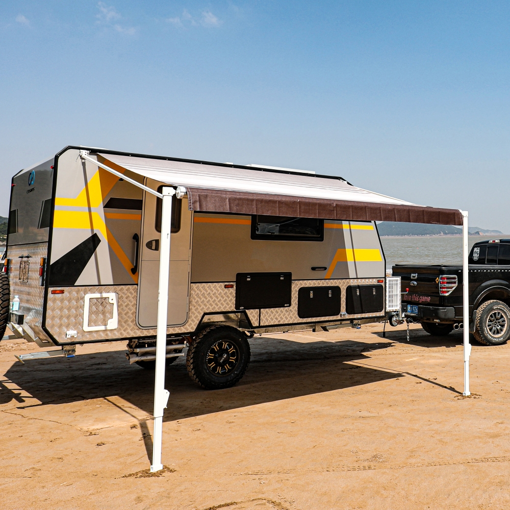 ALEKO Retractable RV or Home Patio Canopy Awning Brown ...