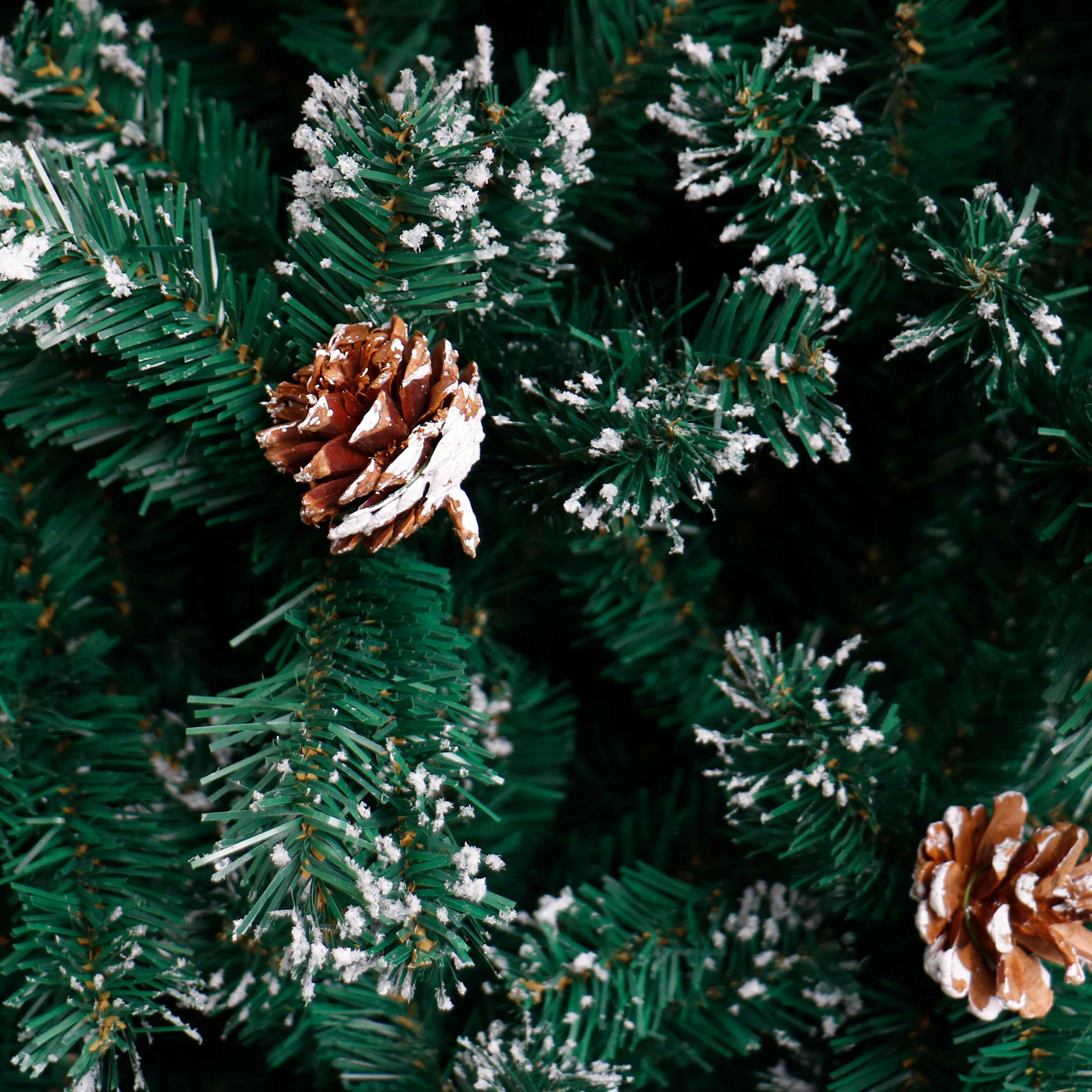 ALEKO Snow Dusted Holiday Artificial Christmas Tree with Pine Cones 8 Foot