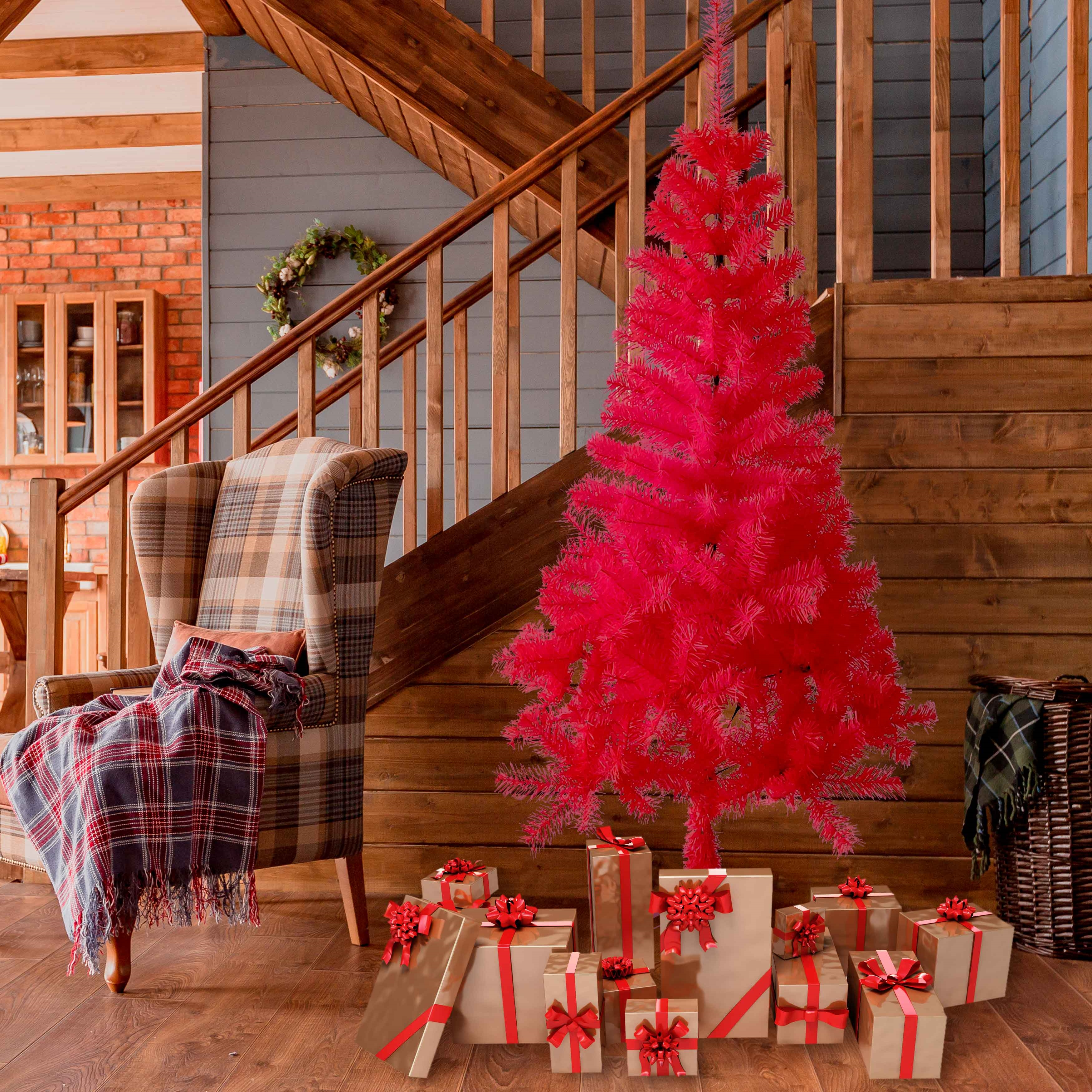 Aleko Artificial Indoor Christmas Holiday Tree 5 Foot Candy Cane Color 655222809018 Ebay
